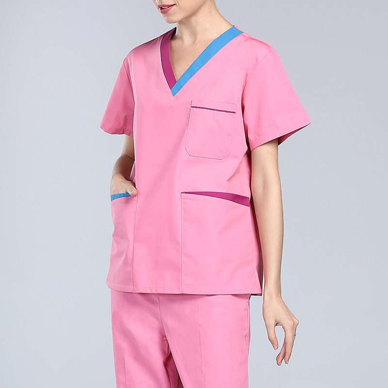 New Women Medical Scrub Sets Hospital Doctor Nurse Uniforms Dental Clinic V Neck Short Sleeve Medical Scrubs Nanou LX10