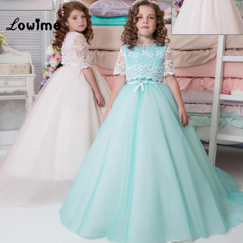 Mint Ivory Flower Girl Dresses Birthday Party Dress Pageant Dress