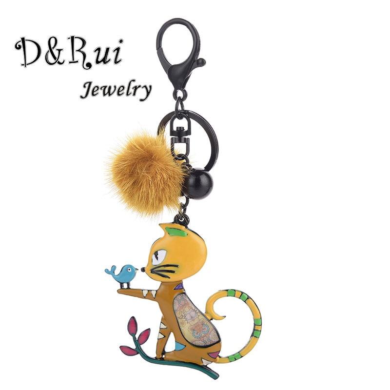 D&Rui Jewelry Cat Key Chain Metal Enamel Kitten Bird Car Keychain Fur Ball Keyring Black Keychains Women Girls Handbag Pendant