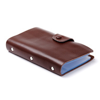 Large Capacity Businessmen Business Card Holders With 120 Pieces PVC Slots High Quality Split Leather Cover