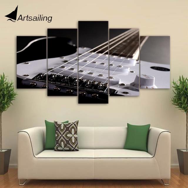Hd Dicetak 5 Piece Kanvas Seni Gitar Alat Musik Lukisan Framed Dinding Untuk Ruang Tamu Gratis