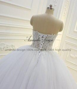 Image 4 - Amanda Design bez ramiączek przepuszczalność koronki suknia balowa z aplikacjami suknia ślubna