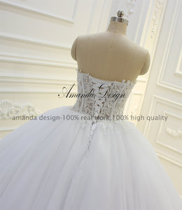 Image 4 - Amanda Thiết Kế Strapless Xem Qua Ren Appliques Bóng Gown Wedding Dress