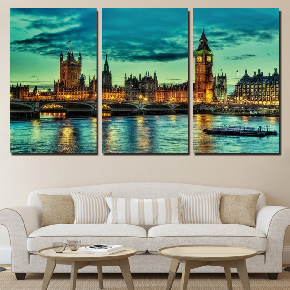 3 panel HD impreso enmarcado panorama Inglaterra pared lienzo arte ...