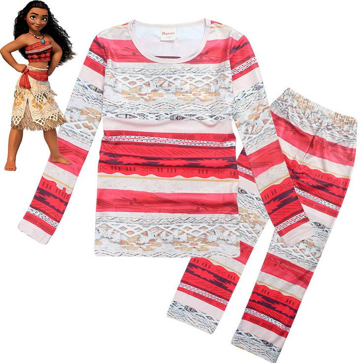 Boys girls Spring Autumn Children girl boy long sleeve Pajamas sleepwear nightgown SET moana maui 3344