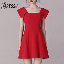 INDRESSME 2019 New Women Slash Neck Hollow Out  Solid Red Short Sleeve Backless A Line Sheath Fashion Empire Mini Dress
