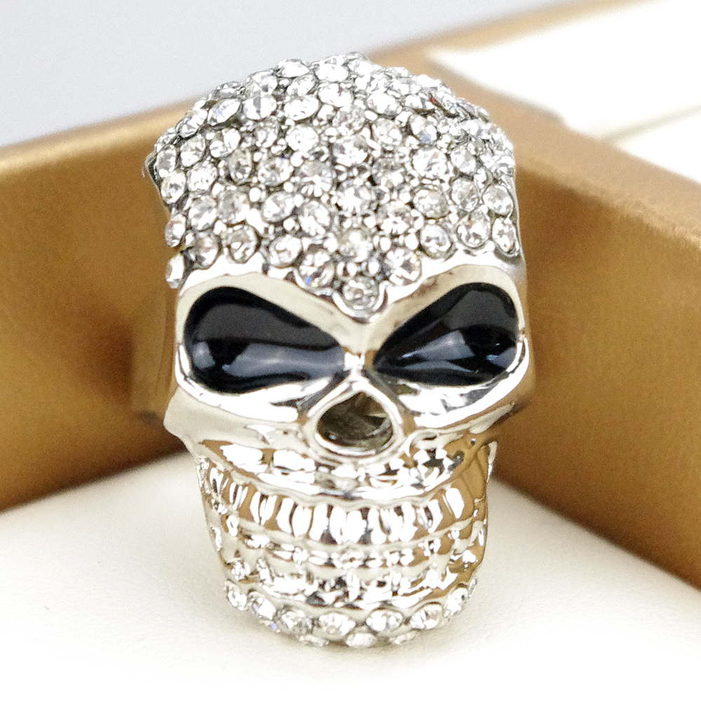2016 Silver Pated Fashion Jewelry Big Skull Crystal Ring For Men Cool Women Girl Boy Head Ring Punk Style Party A054B