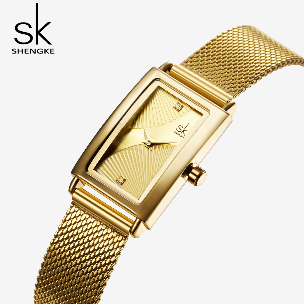 Shengke Gold Luxury Women Watch Rectangle Fans Dial Mesh Strap Creative Quartz Japanese Ladies Wristwatches Relogio Feminino