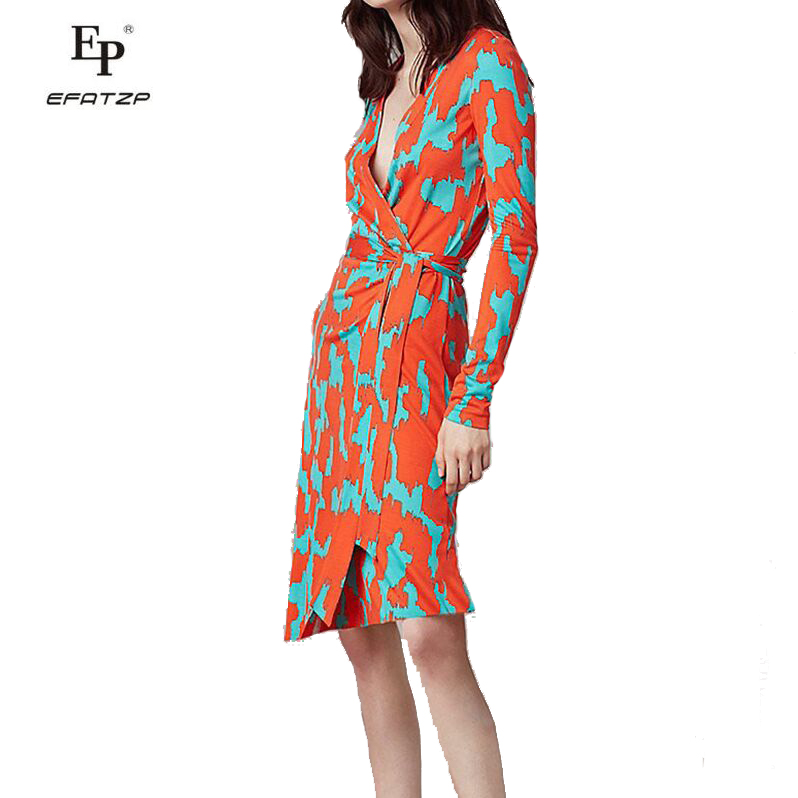 EFATZP 2018 Summer Wrap Dress Women V Neck Three Quarter Sleeve Knee Length Multi color Print