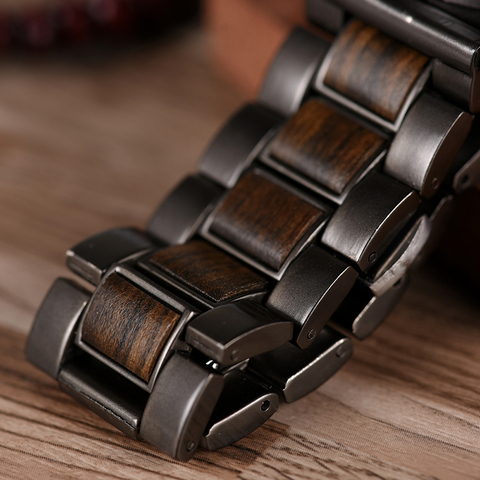BOBO BIRD Date Display Wood Watches Luxury Stylish Watch Wood  Metal Strap New Design Timepieces C-Q26-1 Multan