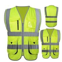 High Visibility Reflective Safety Vest Reflective Vest Multi Pockets Workwear Safety Waistcoat Free Shipping