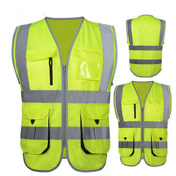 SFvest High visibility reflective safety vest reflective vest multi pockets workwear safety waistcoat free shipping - DISCOUNT ITEM  17% OFF All Category