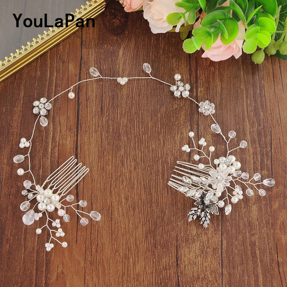 YouLaPan Wedding Combs Pearls Bridal Tiara Wedding Hair Accessories Clear Crystal Wedding Hair Jewelry Double Hair Comb HP24