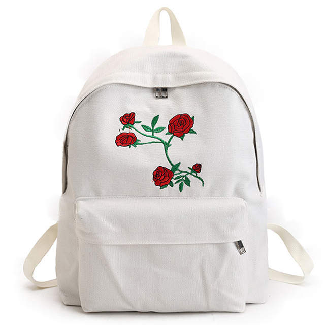 858976a5fe11 Online Shop Wellvo Canvas Backpack Cute Women Rose Embroidery Backpacks  Teenagers Women s Travel Bags Mochilas Rucksack School Bag XA1918C