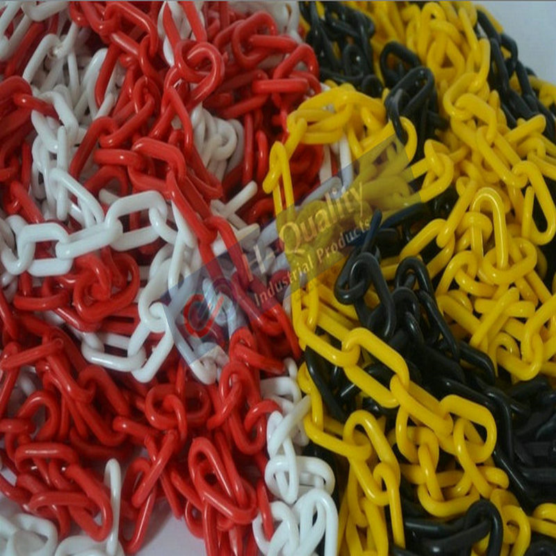 25M/LOT Fresh HDPE Traffic Safety Facilities Road Cone Guard Warning Chain 8MM Diameter Plastic Chain With Free Plastic S Hooks