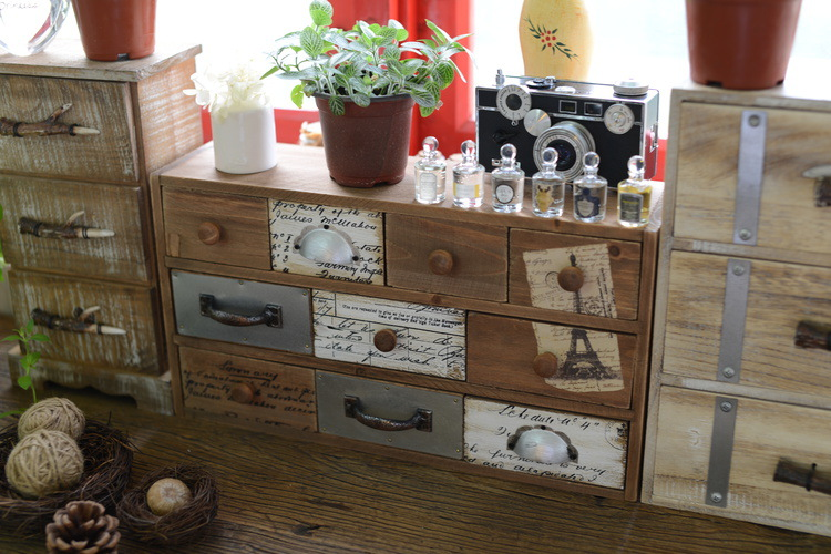 1PC Zakka Retro Grocery Wooden Desktop Organizer Drawer Cabinets Home Furnishing Decorat ...