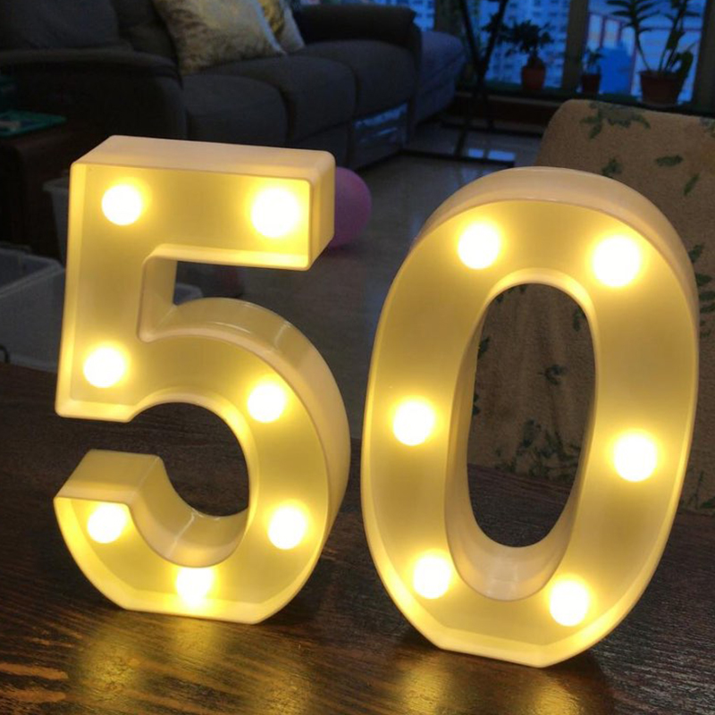 Image 2 - Chicinlife 2Pcs 18/30/40 Numbers LED String Night Light Birthday Party Standing Hanging Adult Party Anniversary Decor SuppliesParty DIY Decorations   -