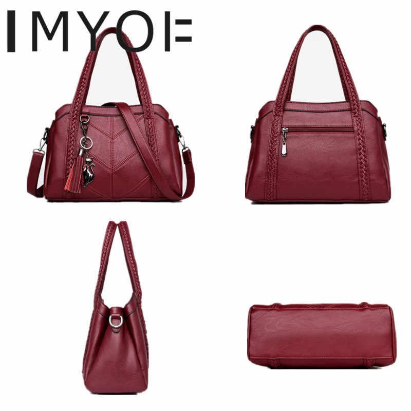 IMYOK новые женские сумки-мессенджеры модные сумки из натуральной кожи Дамская Большая вместительная сумка-тоут горячая Распродажа сумки через плечо сумочки
