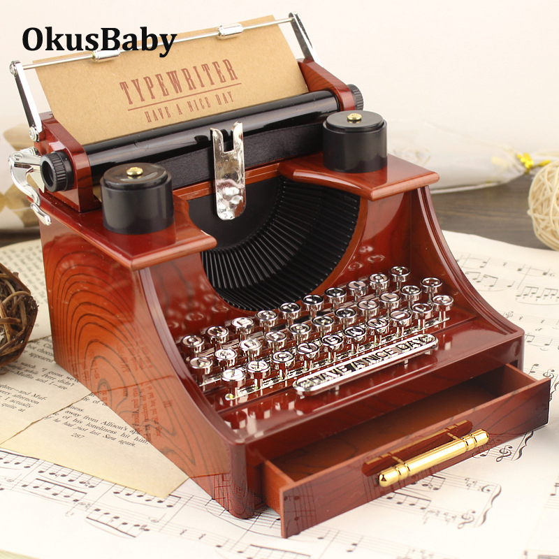 Classic Typewriter Model Clockwork Music Box Desk Toys For Home Decoration Birthday Gift Collection Toys