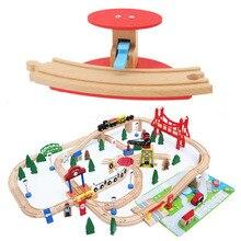 Изогнутая дорожка барьер деревянный поезд трек аксессуары деревянная железнодорожная станция универсальные Развивающие головоломки игрушки для детей