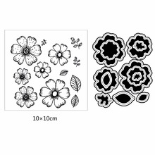 AZSG Simple Style Flowers Leaves Petal Clear Stamps Cutting Dies Set For DIY Scrapbooking Photo Album Card Making Silicon Craft