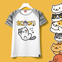 2017 Summer Girls T Shirt Harajuku Shirt Neko Atsume Anime Cartoon Japanese Kawaii Clothes Casual Fe