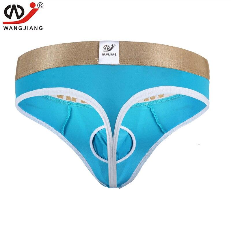 Hot Opening Pouch Bag Sexy Thong Underwear Men Ice Silk Jockstrap Gay Male Tangas Jock Strap T Back WANGJIANG Brand Quality S-XL