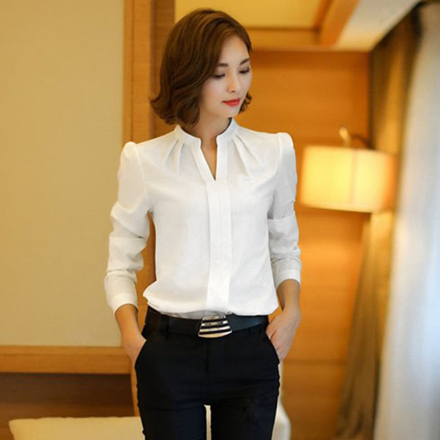 White Blouse Chiffon Office Shirts Women Long Sleeve V Neck Work Wear Tops Solid Color Spring
