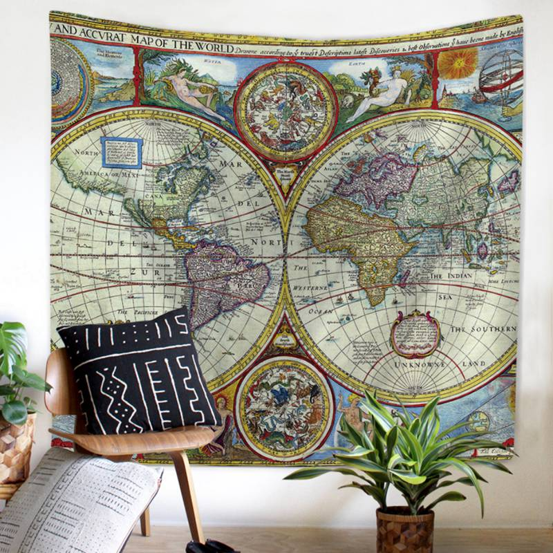 World Map Rug Ebay: Send From USA World Map Wall Art Home Decor Tapestry Black