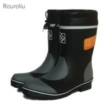 Rouroliu Men Mid-Calf Rainboots Non-Slip Safety Working Shoes Autumn Winter Waterproof Rubber Boots Man Wellies FR67
