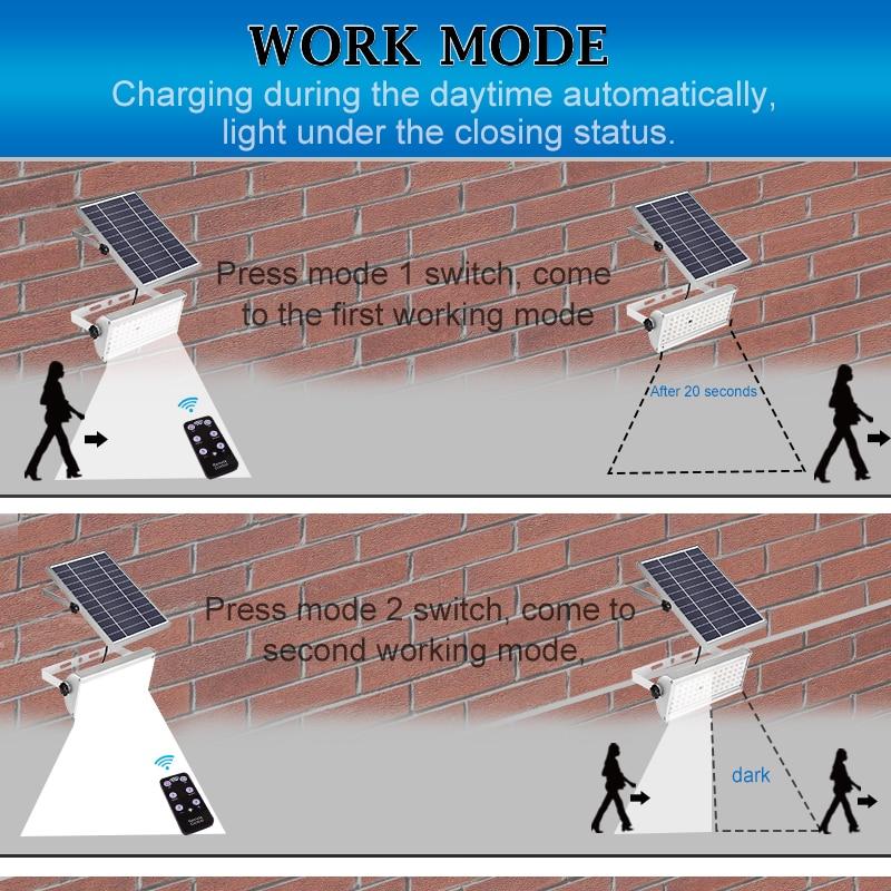 Image 4 - 65 Leds Solar Power Lamp With Rremote Control12W Spotlight Wireless Outdoor WaterproofGarden 48LEDs Solar Energy Street Light-in Solar Lamps from Lights & Lighting