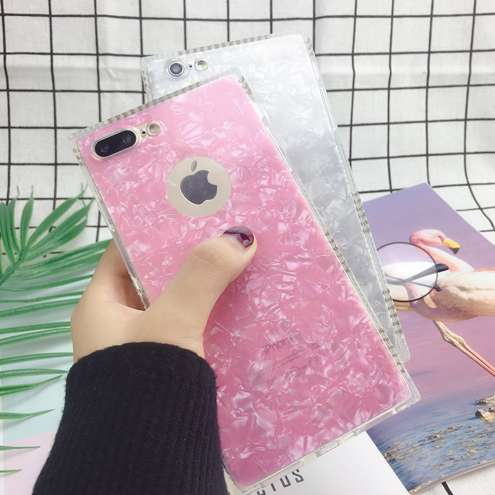 PORTEFEUILLE Luxury square Glitter Pink smart Phone Cover for iphone 6 7 8Plus Case Cute s