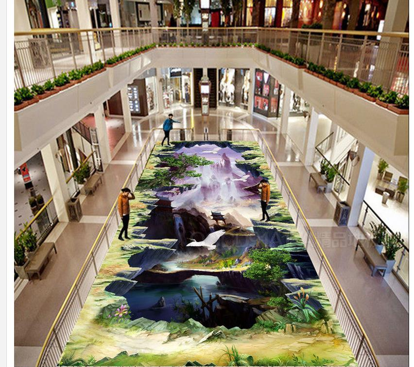 3d wallpaper pvc Outdoor painting style 3D game pvc self-adhesive wallpaper 3d wallpaper waterproof bathroom 3d flooring mural wallpaper lotus lotus leaf pond flowers 3d floor painting waterproof pvc self adhesive wallpaper