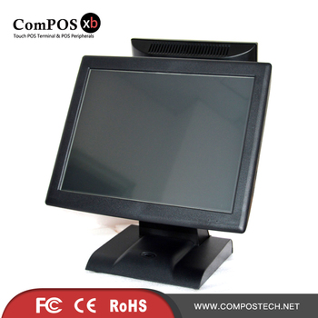 free shipping 15 inch Dual Screen touch pos machine touch pos system restaurant