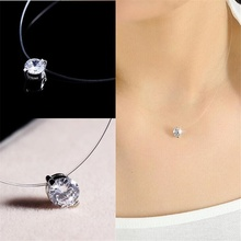 Homod Silver Color Dazzling Zircon Necklace Transparent Invisible Fishing Line Clavicle Chain Pendant Jewelry YDJK235