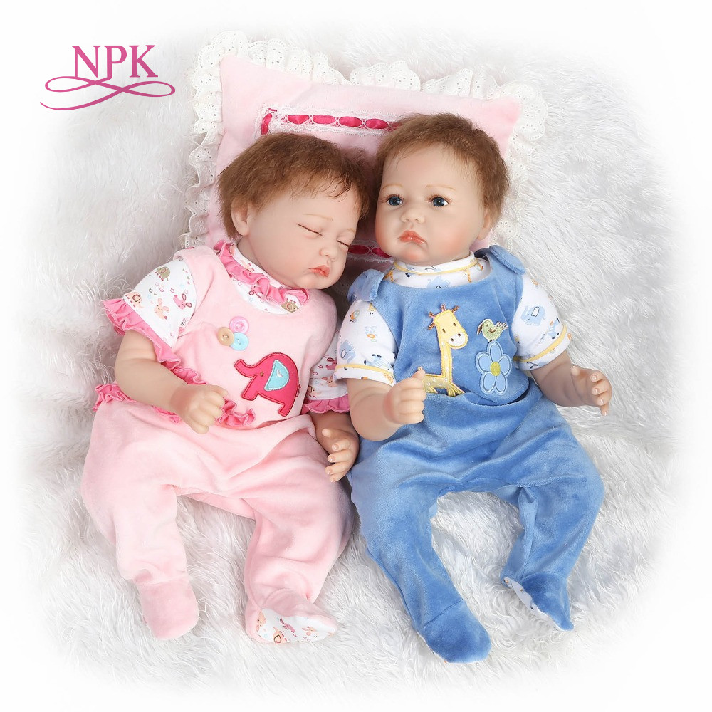 NPK 55cm Silicone reborn baby doll toy like real soft cloth body newborn babies doll bebe reborn girls bonecas birthday gift цена