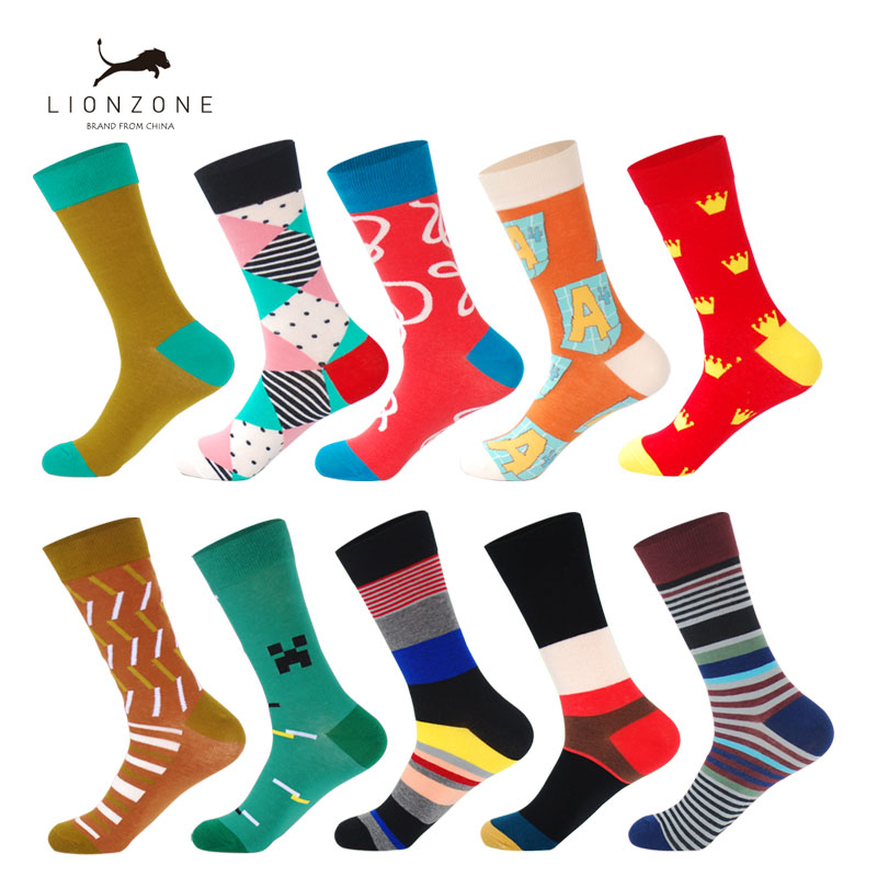 LIONZONE 10Pairs/Lot Happy Socks Men Streetwear Hip Hop Crew Lustige Socken High-Quality Combed Cotton Colorful Funny Socks