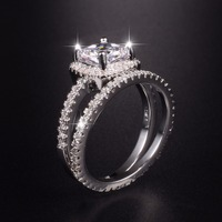 Brand 100 925 Sterling Silver Engagement Ring GALAXY New Trendy Jewelry 3 Carat Simulated Diamond Wedding