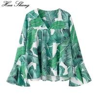 2017 Fashion Women Summer Long Sleeve Chiffon Blouse V Neck Flare Sleeve Green Palm Leaf Print