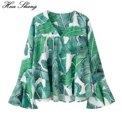 2017 fashion women summer long sleeve chiffon blouse v neck flare sleeve green palm leaf print.jpg 250x250