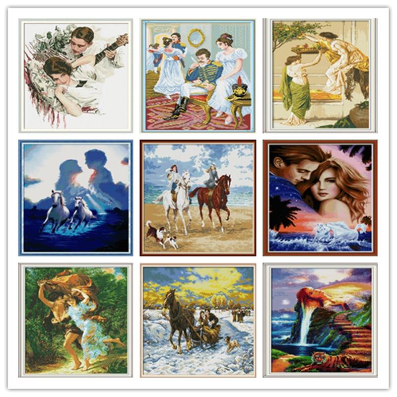 Joy Sunday Water Soluble Canvas Cross Stitch Tela Aida Punto De Cruz Punto De Cruz Kit Damas Printed Cross Stitch Kits 11Ct Kit
