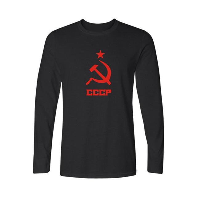 2016 Verão Letra Impressa URSS CCCP Russa T Camisas de Manga Longa União soviética KGB Moscovo Tshirt da Camisa de Algodão Top Tees XXL Preto