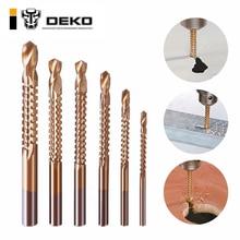 DEKO 6 stücke Power Bohrer und Säge Set HSS Stahl Titan Beschichtet Holzbearbeitung Holz Twist Bohrer 3mm 4mm 5mm 6mm 6,5mm 8mm