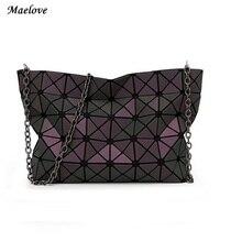 Maelove Neue Frauen-tasche Geometrie casual handtasche schultertasche Hologramm kupplung baobao tasche berühmte logo innen lichtsack