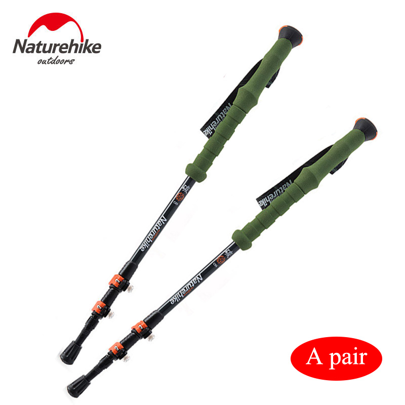 ФОТО POINT BREAK NH80A089-Z Two pieces Outdoor Professional Climbing Staff Adjustable Walking Sticks Trekking Pole Alpenstock Canes