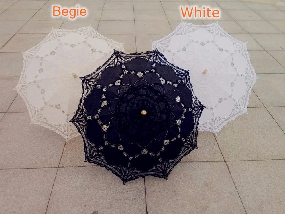 New Lace Umbrella Cotton Embroidery White/Ivory Battenburg Lace Parasol Umbrella Wedding Umbrella Decorations Free Shipping 16