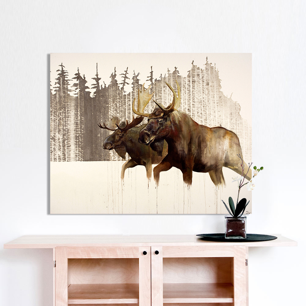 HDARTISAN Wall Art Canvas Picture Animal Moose Painting For Living ...