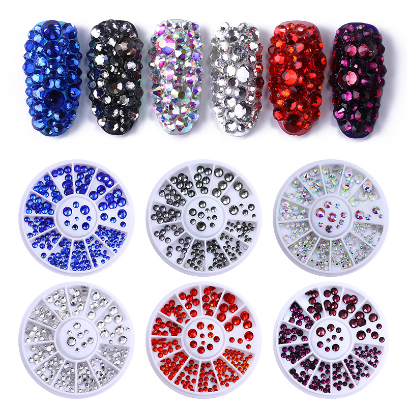1 Box AB Color White Black Nail Crystal Rhinestone Red Gold Purple Flat Bottom Multi-Size Manicure DIY Nail Art 3D Decoration ab color crystal beads 3d nail art decorations sharp bottom diy rhinestones body art nail decoration accessories manicure uv gel