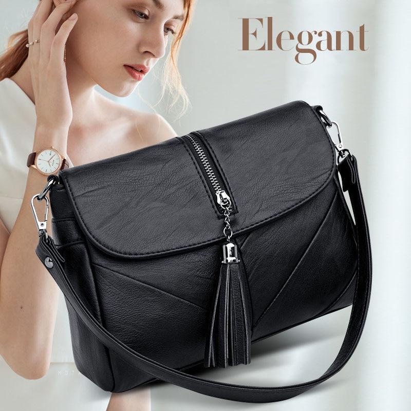 2019 New Women's PU Leather Shoulder Bag O SHI CAR Solid Color Tassel Decoration Adjustable Long Shoulder Strap Messenger Bag