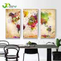 3 Pieces Canvas Wall Art Abstract Painting Watercolor World Map Canvas Wall Picture For Living Room